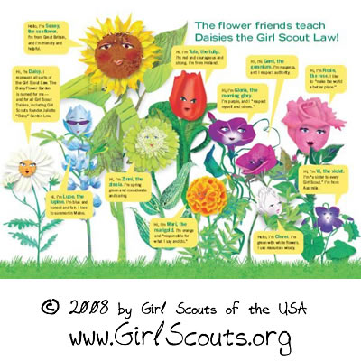 The Girl Scout Law in Flowers